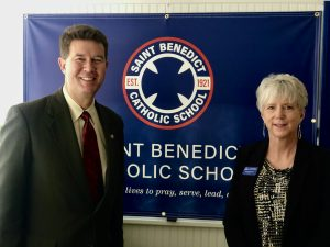 Pictured: The Honorable Alabama Secretary of State John H. Merrill and St. Benedict Principal Dr. Kathy McCool